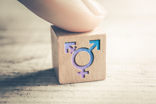 Transgender, LGBT or Intersex Icon On A Wodden Block On A Table Arranged By A Finger 1206682744