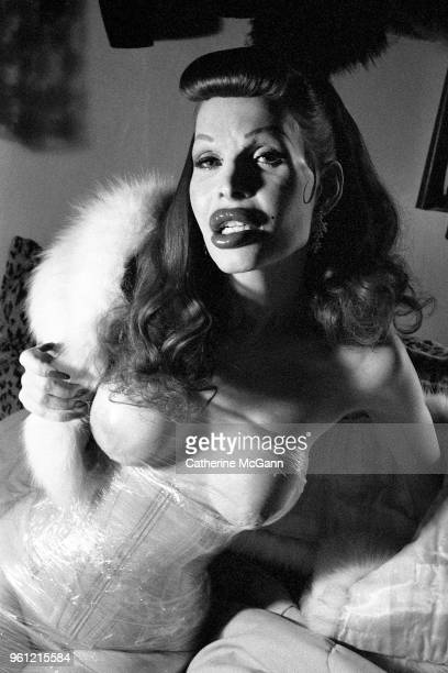 Transgender model singer and performance artist Amanda Lepore poses for a photo in 1999 in New York City New York