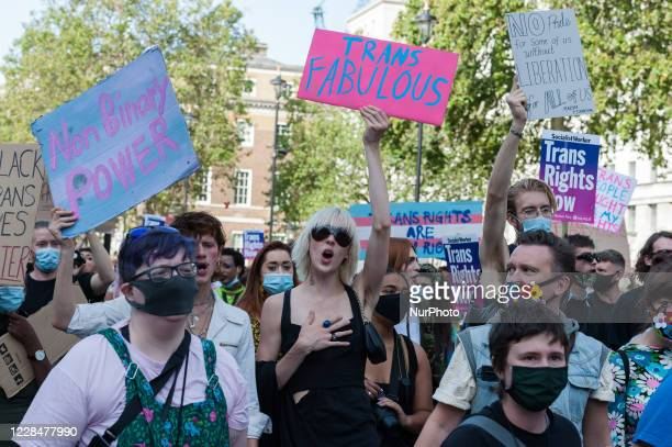 Transgender people and their supporters demonstrate outside Downing Street during London's second Trans Pride protest march for equality on 12...