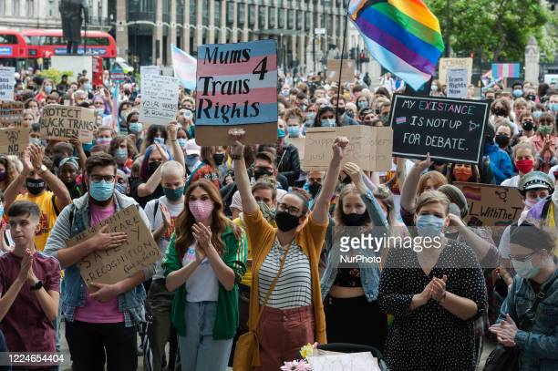 Transgender people and their supporters gather in Parliament Square to protest against potential changes to the Gender Recognition Act on 04 July,...