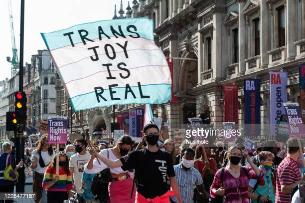 Transgender people and their supporters march along the Piccadilly during London's second Trans Pride protest march for equality on 12 September,...