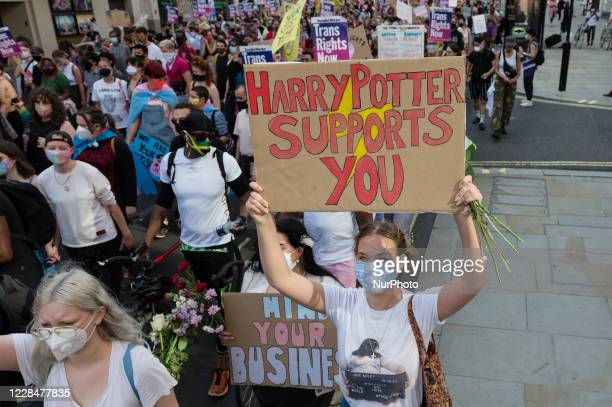 Transgender people and their supporters march through central London during the second Trans Pride protest march for equality on 12 September, 2020...