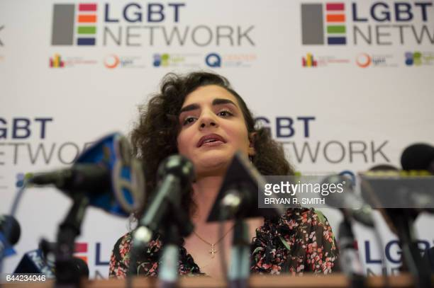 Transgender person Madeline Bruni speaks at a press conference on February 23 2017 in Woodbury New York The group spoke out against President Donald...