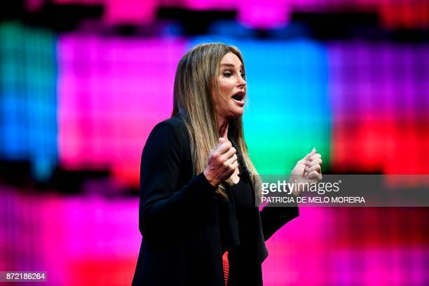 Transgender rights advocate and former Olympian Caitlyn Jenner delivers a speech during the 2017 Web Summit in Lisbon on November 9 2017 Europe's...