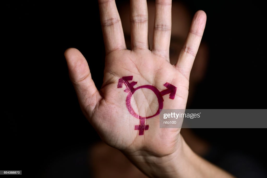 transgender symbol in the palm of the hand : Stock Photo