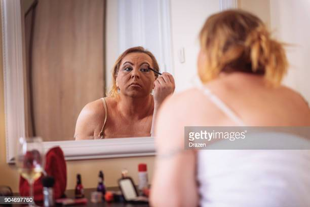 transgender who wants to be beautiful - transvestite stock photos and pictures