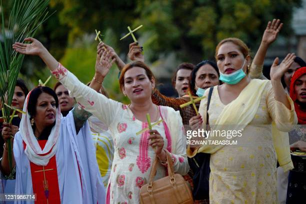 Transgenders attend a Palm Sunday service at a Church in Karachi on March 28, 2021.
