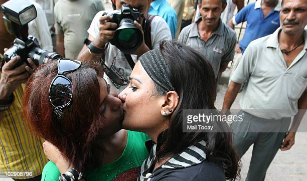 Transgenders celebrate the first anniversary of the abolishment of article 377 which legalised homosexuality during a gay parade in New Delhi on July...