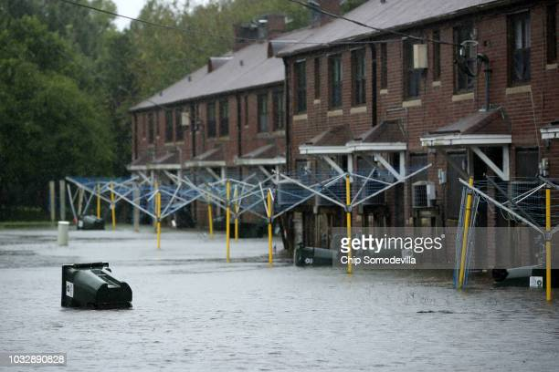 A transh can floats through the Trent Court public housing apartments after the Neuse River topped its banks during Hurricane Florence September 13...