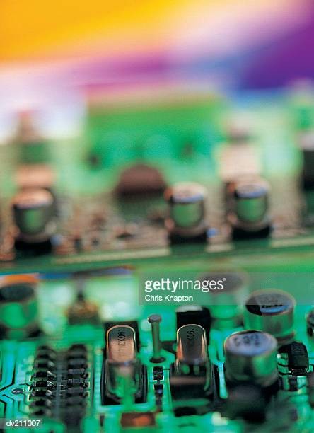 Transistors on a colorfully variegated circuit board