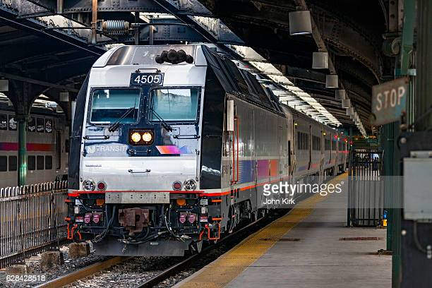 nj transit commuter service in historic hoboken terminal - hoboken stock pictures, royalty-free photos & images