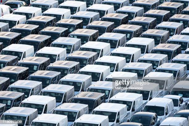 Transit vans ready for export at the Port of Southampton on February 10 2019 in Southampton England The Port of Southampton is a passenger and cargo...