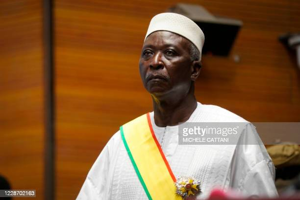 Transition Mali President Bah Ndaw is seen during his inauguration ceremony at the CICB in Bamako on September 25, 2020. - Mali's interim president,...