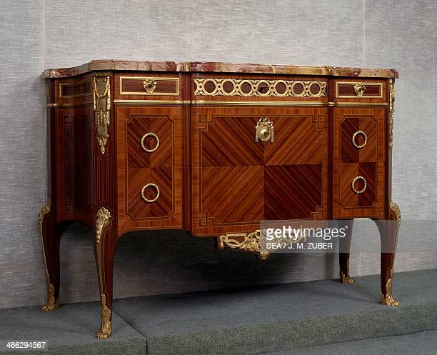 Transitional Louis XVLouis XVI style Second Empire tulipwood and satinwood commode ca 1870 stamped by Paul Sormani France second half 19th century...