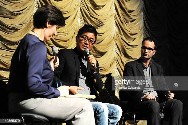 Translator Angela Killoren director Kang Jegyu and Film Independent at LACMA Assistant Curator Bernardo Rondeau participate in a QA session following...