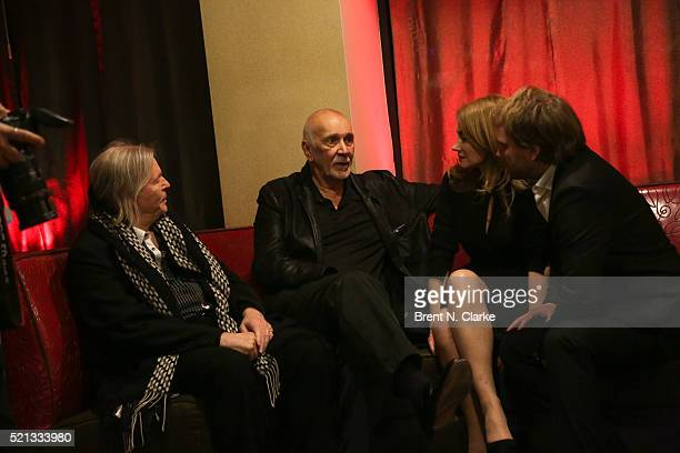 Translator Christopher Hampton actor Frank Langella Marine Delterme and playwright Florian Zeller attend the cast party following the opening night...