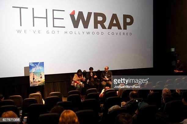 Translator Junko Gouda Director Makoto Shinkai and Moderator Steve Pond attend TheWrap's Special Screening Presentation Of Your Name and Jackie on...