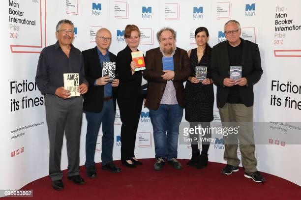Translator Nicholas de Lange with authors David Grossman, Dorthe Nors, Mathias Enard, Samanta Schweblin and Roy Jacobsen at a photocall for the...
