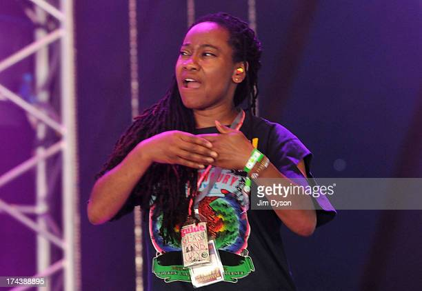 A translator speaking sign language performs on the John Peel stage during day 3 of the 2013 Glastonbury Festival at Worthy Farm on June 29 2013 in...