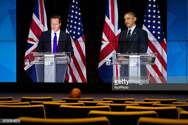 Transmission of the closing Press Conference held by David Cameron UK Prime Minister and Barak Obama President of the USA at the G7 summit in...