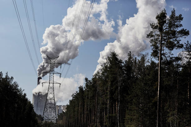 Transmission Pylon Near Coal Power Plant