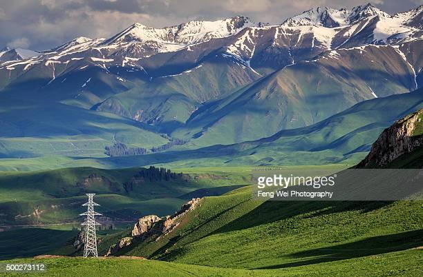 Transmission Tower, Tangbula Grassland, Xinjiang China