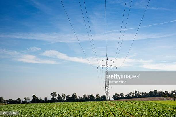 transmission towers and power lines - power line stock pictures, royalty-free photos & images