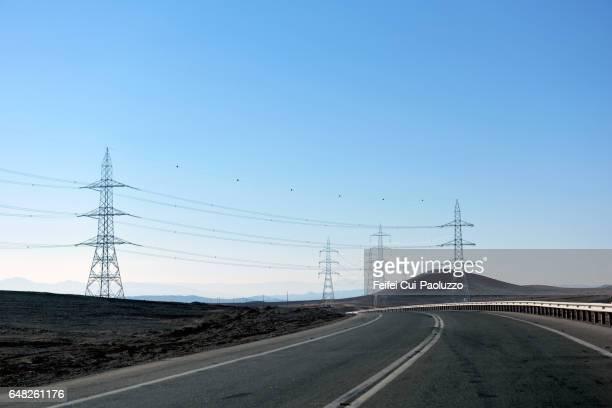 Transmission towers at Antofagasta Region, Chile
