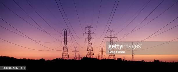 Transmission towers, dusk (Digital Composite)