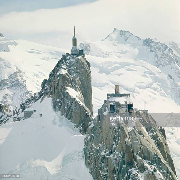 Transmitter at the top of the Aiguille du Midi in the massif of the Mont Blanc
