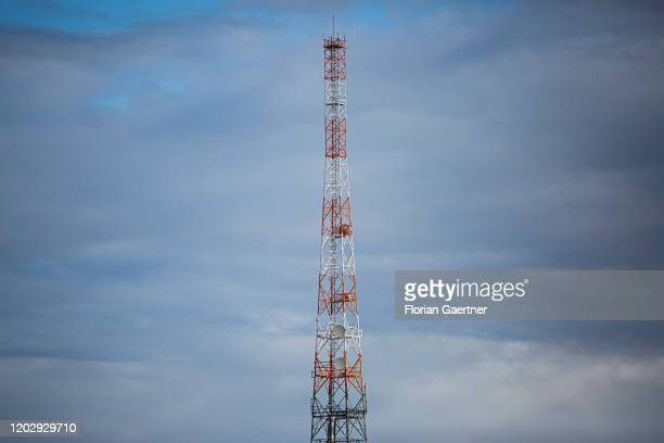 A transmitter mast is pictured on February 18 2020 in Wustermark Germany