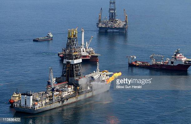 Transocean's Discoverer Enterprise drilling vessel burns gas from the damaged Deepwater Horizon wellhead in the Gulf of Mexico on Thursday May 20 2010