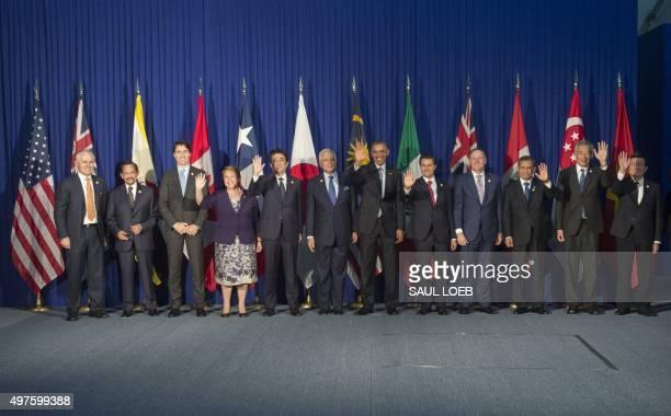 TransPacific Partnership leaders Australian Prime Minister Malcolm Turnbull Brunei's Sultan Hassanal Bolkiah Canadian Prime Minister Justin Trudeau...