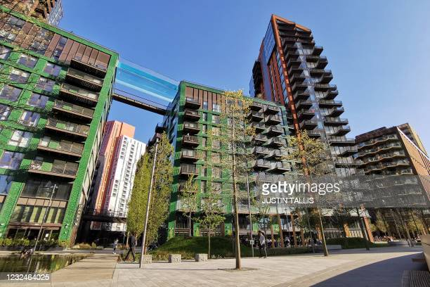 Transparent acrylic swimming pool bridge is pictured, fixed between two apartment blocks at Embassy Gardens next to the new US Embassy in south-west...