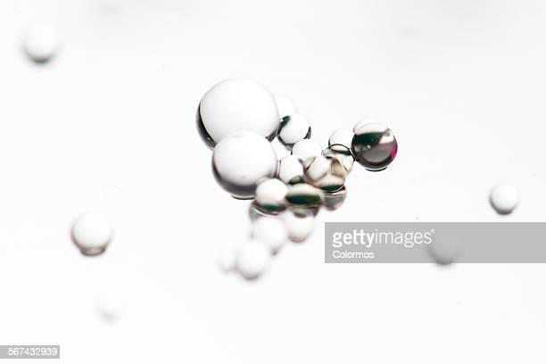 Transparent beads on white background