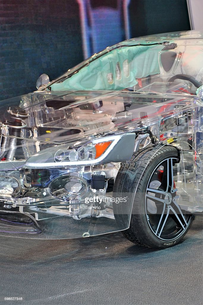 Transparent car in the showroom : Stock Photo