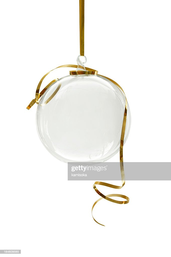Transparent Christmas ornament hanging on a white background : Stock Photo