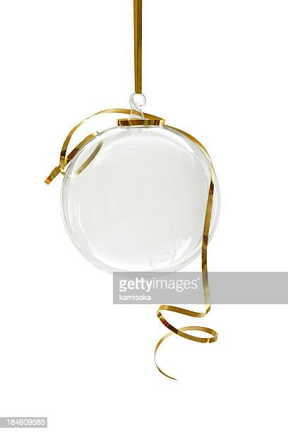 Transparent Christmas ornament hanging on a white background