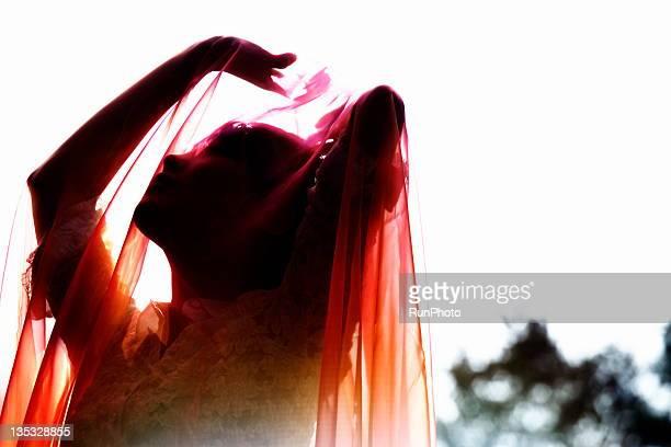 transparent color cloth - wedding veil - fotografias e filmes do acervo