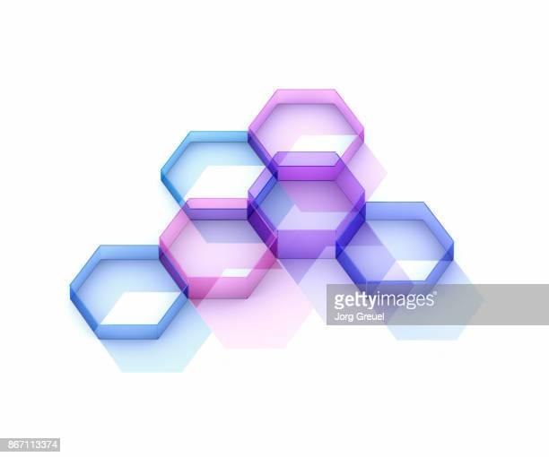 transparent connected hexagons - zweidimensionale form stock-fotos und bilder
