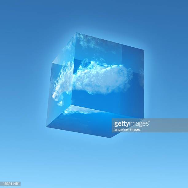 Transparent Cube with a Cloud inside