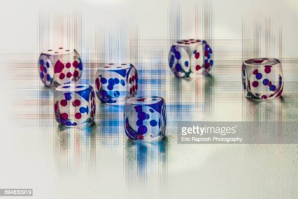Transparent dice with crosshatch lines