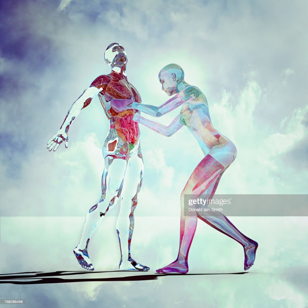 Transparent futuristic woman reaching into abdomen of man : Stock Photo