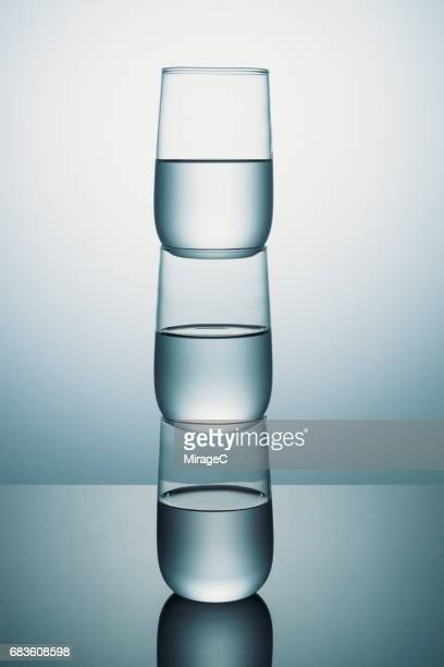 Transparent Glass of Water Stacking