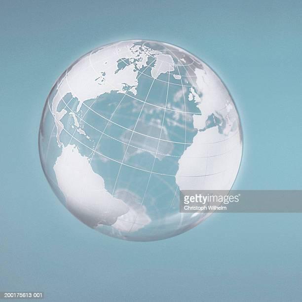 transparent globe displaying three continents - längengrad stock-fotos und bilder
