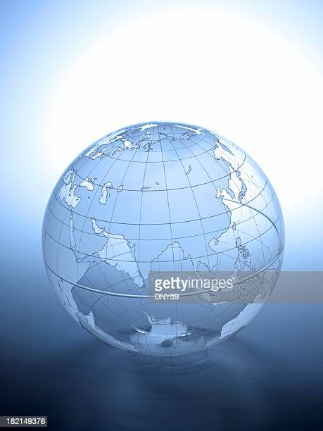 Transparent globe rotated to show Asian continent