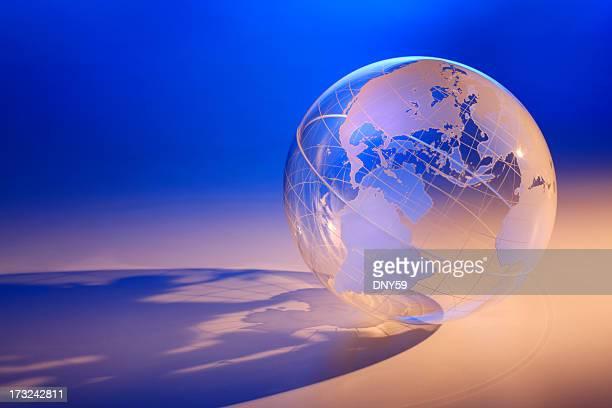 Transparent globe showing North America