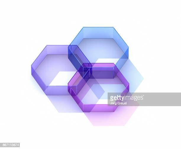 Transparent intersecting hexagons