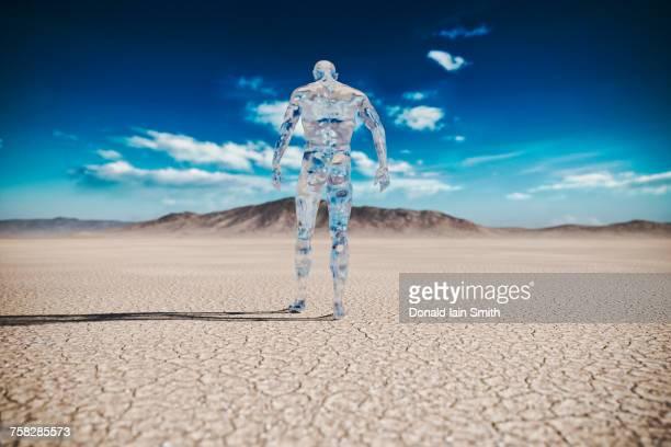 Transparent man walking in desert