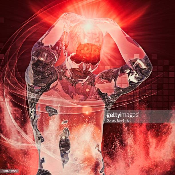 Transparent man with headache in cyberspace
